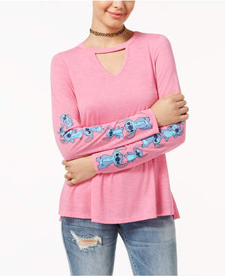 Hybrid Juniors' Disney Stitch Choker T-Shirt