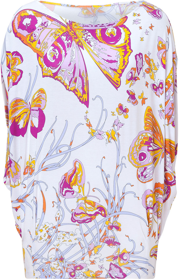 Emilio Pucci White Butterfly Print Dolman Sleeve Jersey Top