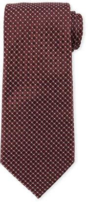 Giorgio Armani Box-Pattern Silk Tie, Wine