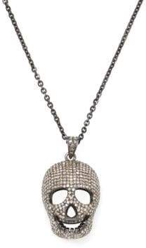 Silver & Champagne Diamond Skull Pendant Necklace