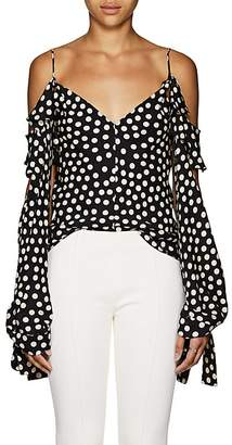Juan Carlos Obando Women's Polka Dot Silk Off-The-Shoulder Blouse