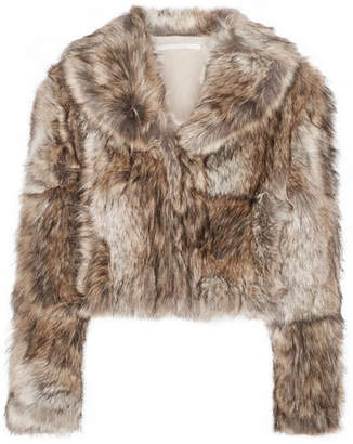Masha Cropped Faux Fur Coat - Light brown