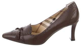 Burberry Leather Tassel-Accented Pumps Brown Leather Tassel-Accented Pumps