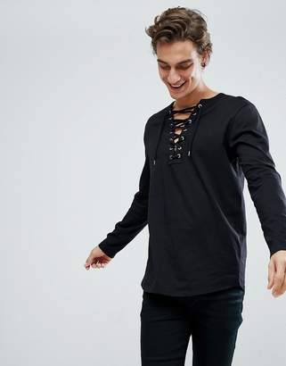Asos Longline Long Sleeve T-Shirt With Curved Hem And Deep Contrast Lace Up V Neck