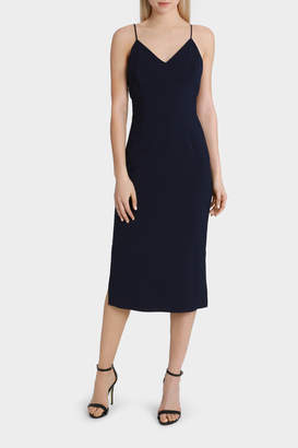 Navy Fitted Midi Dress