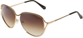 Balmain Square Rimmed Metal Open-Temple Sunglasses
