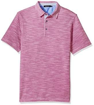 Bugatchi Men's Cotton Short Sleeve Three Button Knit