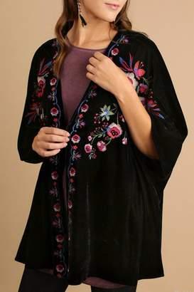 Umgee USA Velvet Embroidered Kimono