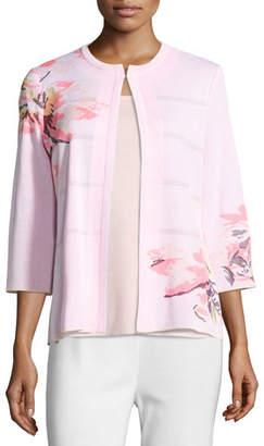 Misook 3/4-Sleeve Floral-Print Open Jacket, Pink