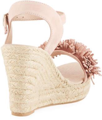 Sesto Meucci Olexa Suede Fringe Wedge Sandals, Medium Pink