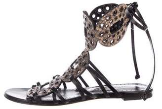 Alexa Wagner Snakeskin Lace-Up Sandals