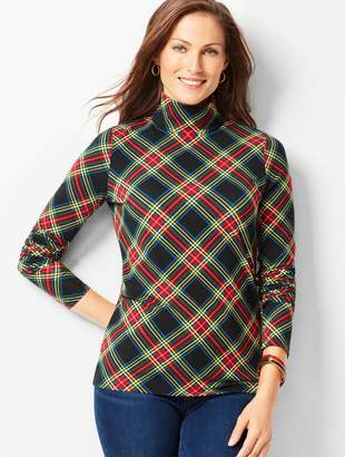 Talbots Cotton Turtleneck Tee - Festive Plaid