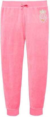 Juicy Couture Girls Velour Scottie Crest Cuff Pant