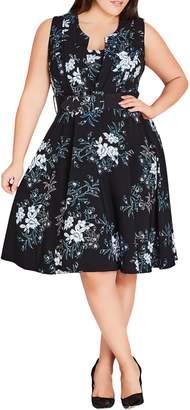 City Chic Kaori Fit & Flare Dress