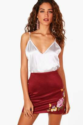 boohoo Embroidered Suede A Line Mini Skirt