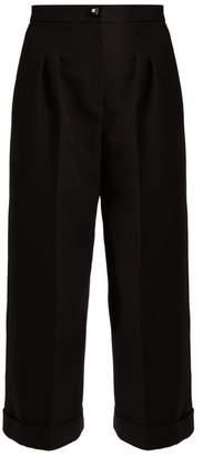 Fendi Wide Leg Cotton Crepe Trousers - Womens - Black