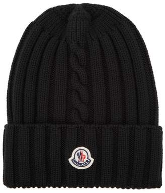 Moncler Black Knitted Wool Beanie
