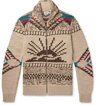 Faherty Sun & Waves Shawl-Collar Intarsia Alpaca-Blend Zip-Up Cardigan
