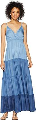 Karen Kane Women's Tiered Chambray Maxi Dress
