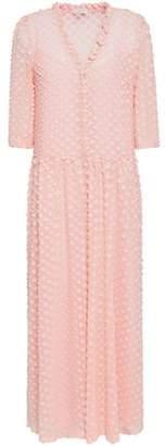 Claudie Pierlot Pleated Fil Coupe Mousseline Maxi Dress