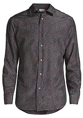 Brioni Men's Silk Paisley Print Sport Shirt