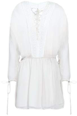 IRO Lace-up Lace-trimmed Georgette Mini Dress