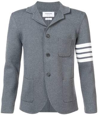 Thom Browne Rib Knit Sport Coat With White 4 Bar Stripe In Medium Grey Fine Merino Wool