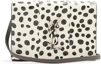 Saint Laurent Kate polka-dot small snakeskin cross-body bag