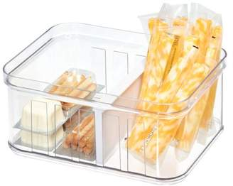 clear Idesign iDesign Stackable Refrigerator and Pantry Small Divided Bin, BPA Free Plastic, and White