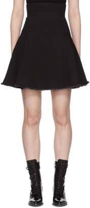 Alexander McQueen Black Denim A-Line Flare Skirt