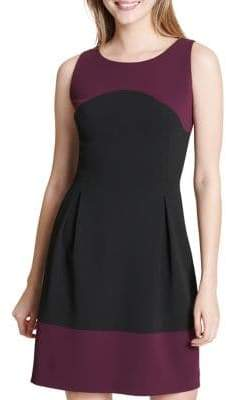 Tommy Hilfiger Scuba Crepe Colorblock Fit-&-Flare Dress