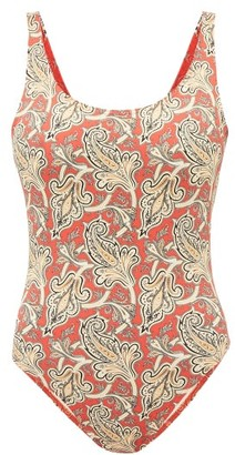 Etro Paisley Print Scoop Neck Swimsuit - Womens - Red