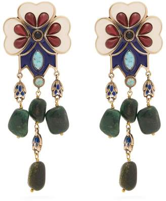 Etro Floral bead-embellished drop clip-on earrings
