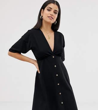 Asos Tall DESIGN Tall mini cotton tea dress with buttons