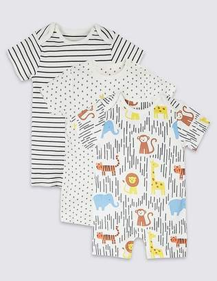 Marks and Spencer 3 Pack Organic Cotton Rompers