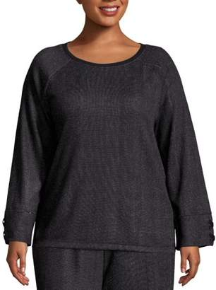 Just My Size Women's Plus Size French Terry Sweatshirt with Lace-up Sleeves