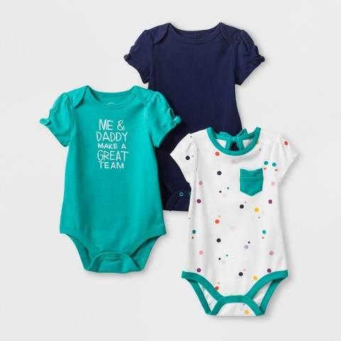 Cat & Jack Baby Girls' 3pk Short Sleeve Bodysuit Set - Cat & Jack Green/Navy