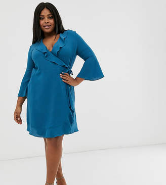 Outrageous Fortune Plus ruffle wrap dress with fluted sleeve in pale blue