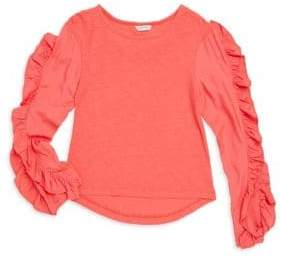 Habitual Girl Girl's Coraline Long-Sleeve Ruffle Knit Tee