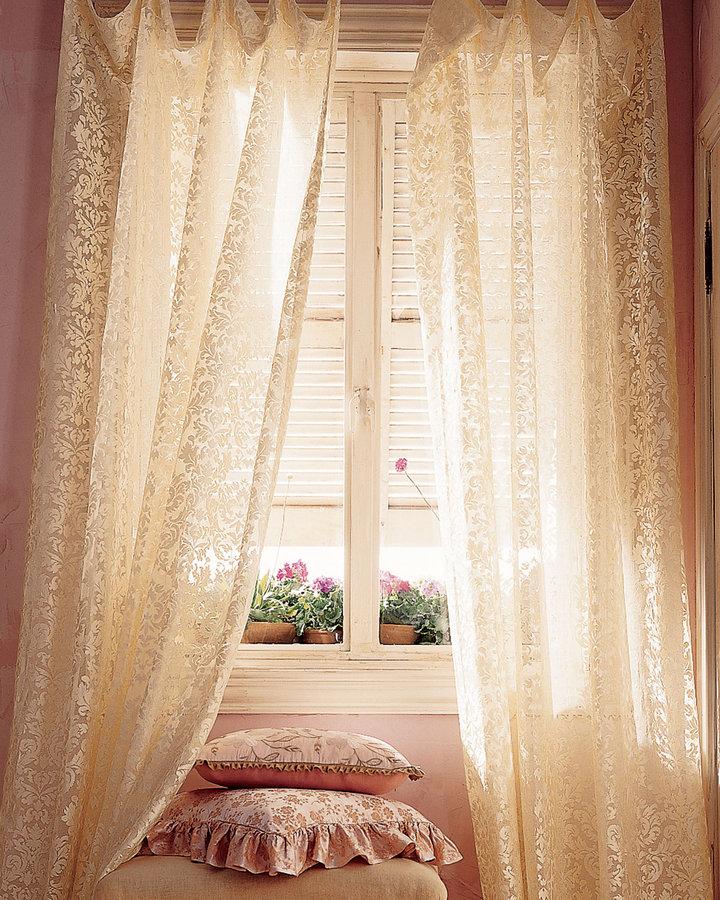 Horchow Each 96L Versailles Lace Curtain