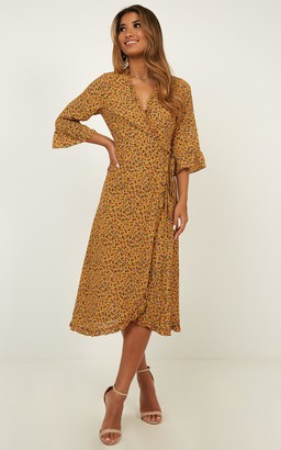 Showpo All Ive Ever Wanted Dress In mustard floral - 6 (XS) Dresses