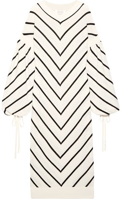 Zimmermann - Maples Louche Chevron Wool And Cashmere-blend Midi Dress - Ivory $895 thestylecure.com