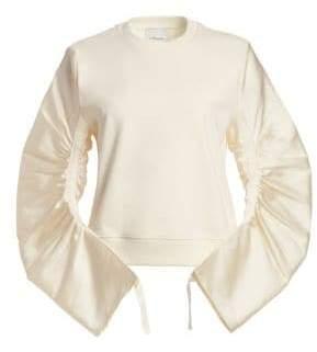 3.1 Phillip Lim Gathered-Sleeve French Terry Sweatshirt