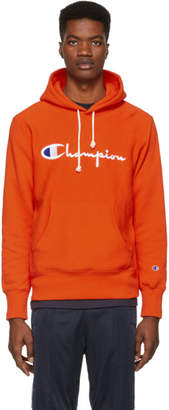 Champion Reverse Weave Orange Script Logo Hoodie