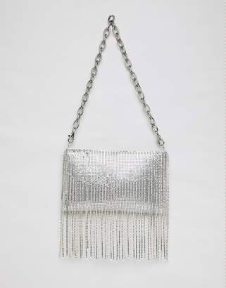 Asos Design DESIGN 90s chainmail fringe shoulder bag with detachable strap