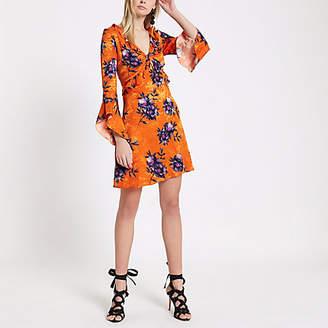 River Island Womens Orange floral jacquard frill tea dress