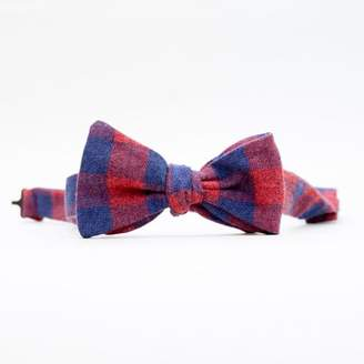 Blade + Blue Burgundy & Navy Blue Buffalo Check Bow Tie