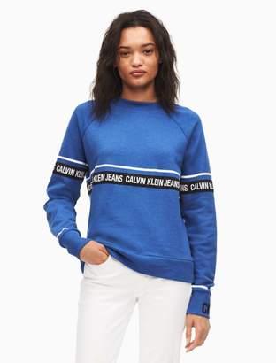 Calvin Klein logo tape cropped sweatshirt