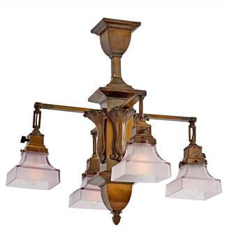 Rejuvenation Compact 4-Light Chandelier w/ Art Nouveau Ornaments