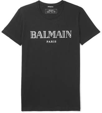 Balmain Slim-Fit Metallic Logo-Print Cotton-Jersey T-Shirt - Men - Black